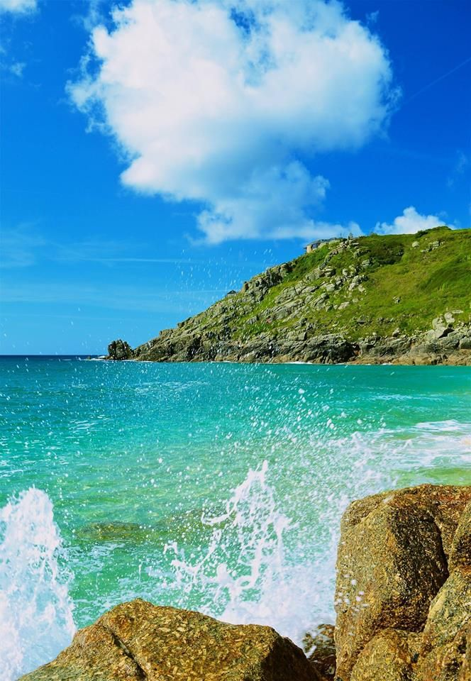 Crystal clear waters at beautiful Porthcurno Cornwall