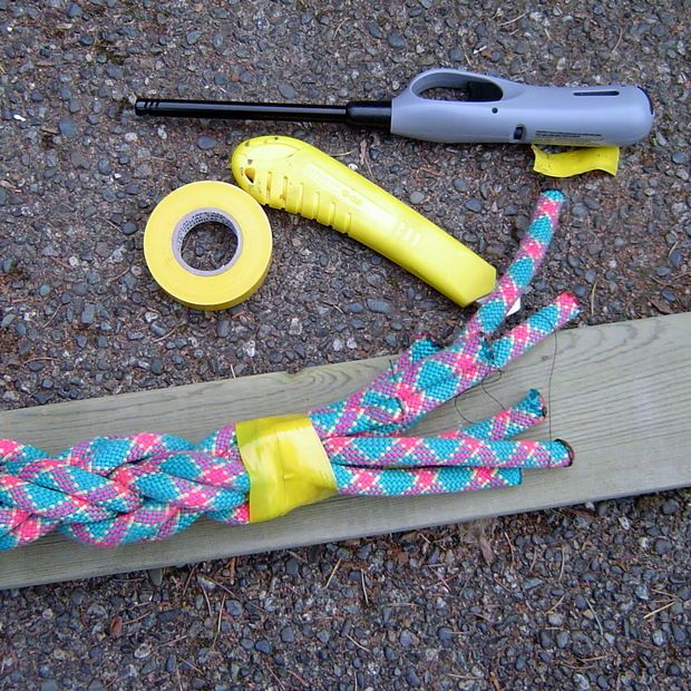 how to DIY a gym climbing rope by braiding 11mm rope together. (instructions in link)