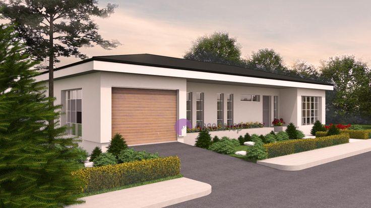 Casa mica organizata pe parter 94 mp utili- Vedere spre garaj si zona de intrare principala| Modern single-family dwelling- Street view| Etichete: proiecte case, proiecte case mici, proiecte case mici parter, case mici, proiecte case moderne, case moderne