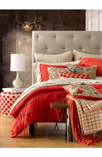 Beautiful bedroom styling. Such a fun and unique color palette. Plus I'm loving all of these great patterns and textures!