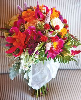 Bouquet of celosia, cosmos, gomphrenas, spray roses, succulents, dahlias, gloriosa lilies, allium, ageratum, cockscombs, dusty miller, garden ivy, and ferns    $225, by Candi's Floral Creations, North Branford, CT