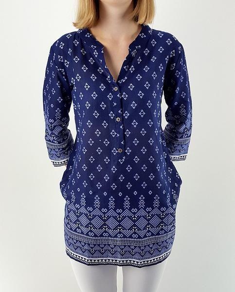 3/4 sleeve sari cotton kurta tunic top w/ mandarin collar + button feature in indigo blue + white print. Plus size available!