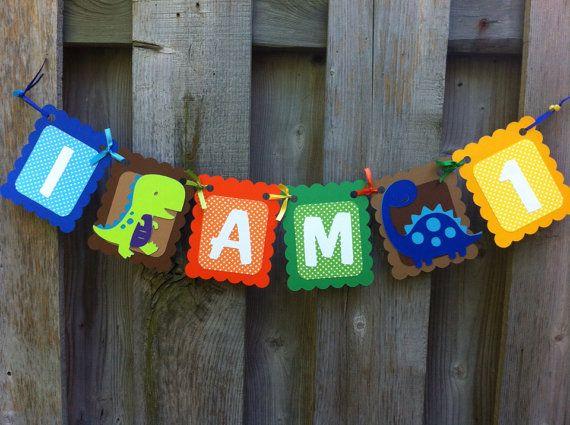 I am 1 Dinosaur Birthday Banner I am One by LittleMissStarchick