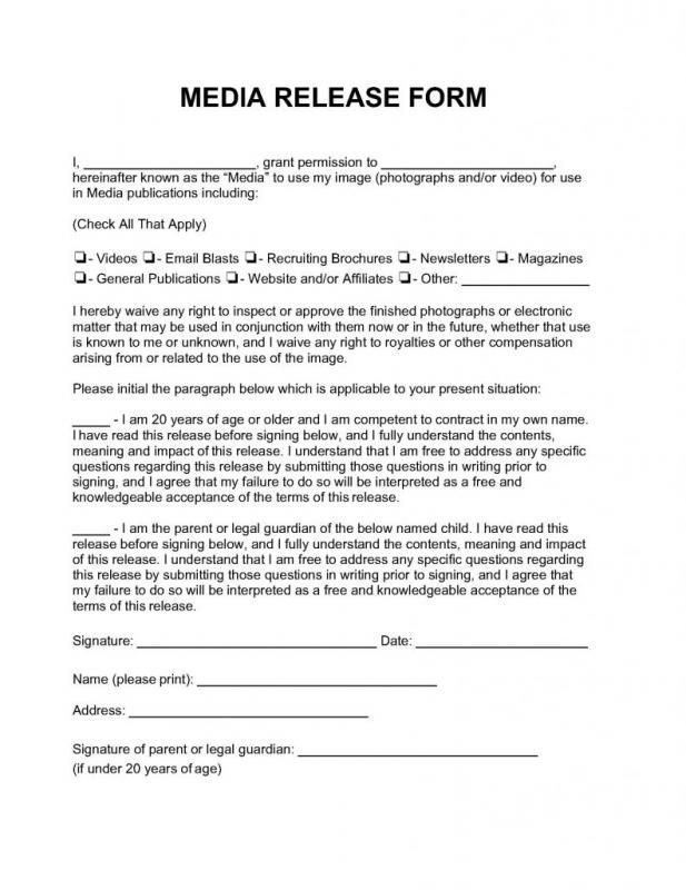 Media Release Form Template Business
