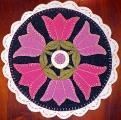 """Free Printable Penny Rug Patterns   Instant Download PENNY RUG E Pattern SCALLOPED PINK TULIPS by """" Oley ..."""