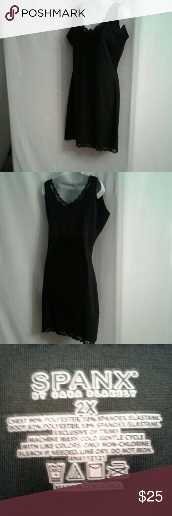 Spanx black slip shaper sz 2X This is a black full slip shaper in EUC. The rounded neck, front and back, is trimmed in black lace. It is empire waisted, so the spandex/elastane doesn't restrict the ta-tas. SPANX Intimates & Sleepwear Shapewear
