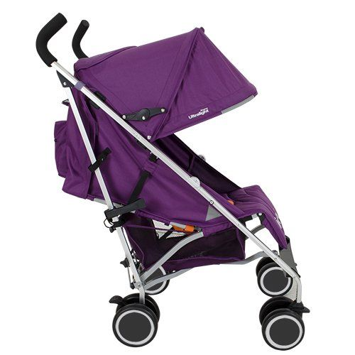 Joovy Groove Ultralight  Weighs 13lb One hand, multi-position seat recline Large canopy Adjustable leg rest Zipper pocket on the back of canopy Carrying handle Decent size basket Lockable front swivel wheels Available in 5 colors