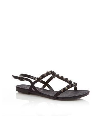 NEW LOOK Wide Fit Black Enamel Flower Embellished Sandals