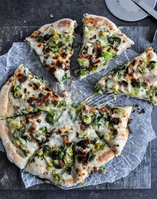 Cast Iron Skillet Brussels Sprouts Bacon Pizza I howsweeteats.com