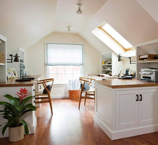 In this #homeoffice the low ceilings could make the space feel cramped and claustrophobic. But by keeping the design simple and mostly white, the room feels spacious and open. Wood countertops provide a warm contrast to the white walls, ceiling, and cabinetry.
