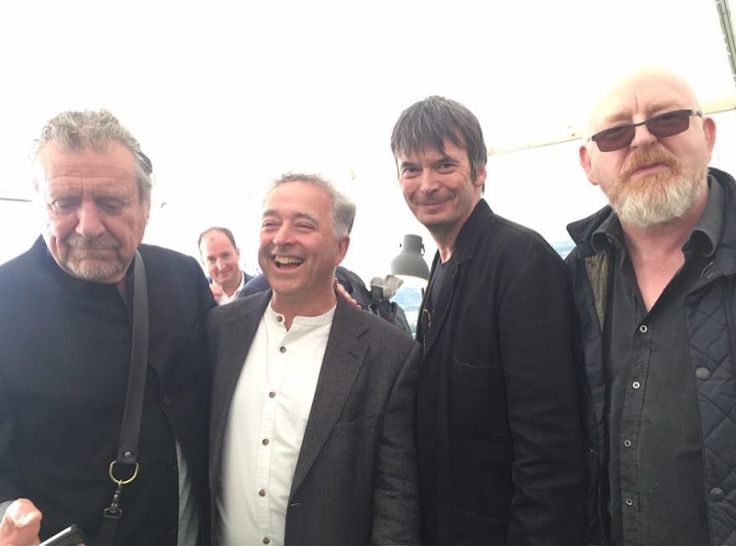 Robert Plant photographed at Hay Festival with Frank Cottrell-Boyce, Ian Rankin, and Alan McGee on 4 June 2017.