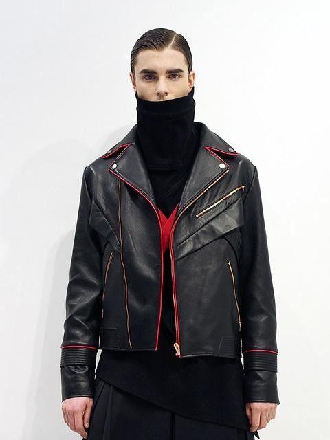 [Unisex] Black W-Biker Leather Jacket