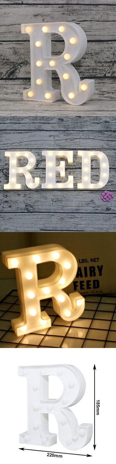LEDIARY LED Night Light Letter Lights for Party,Home,Wedding Lighting Decor Warm White Alphabet Marquee Decoration Lights Letter R
