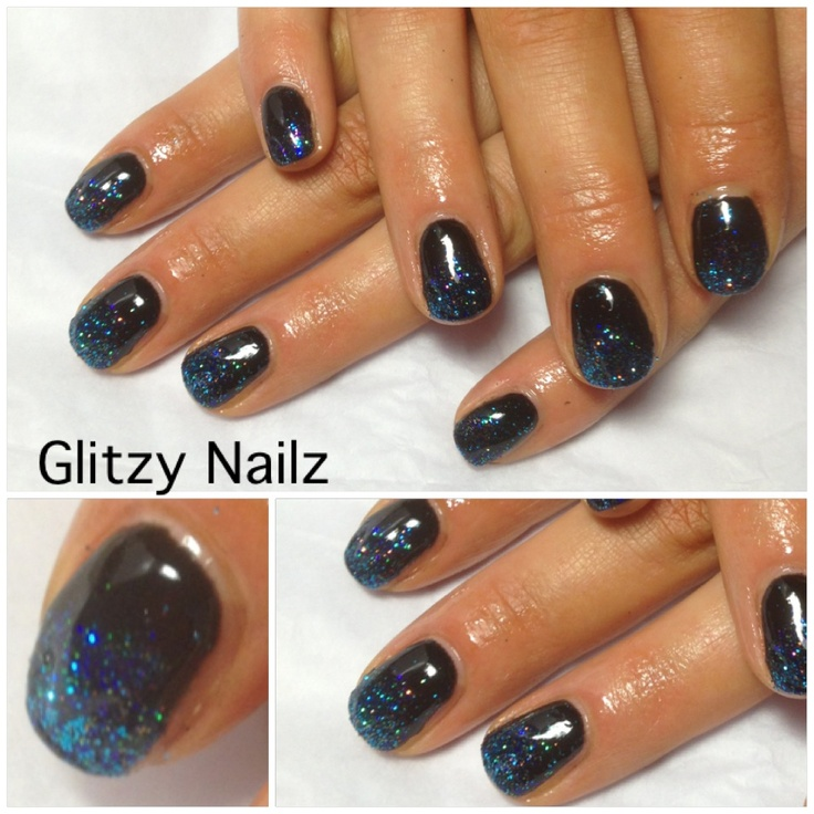 Calgel Black with 'blue glitter fade'. Love the effects of this ...