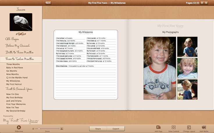Screenshots from our new Mac App 'My First Five Years'.App Mi, Anne Geddes, Photos Inspiration, Baby, Photograph, Mac App