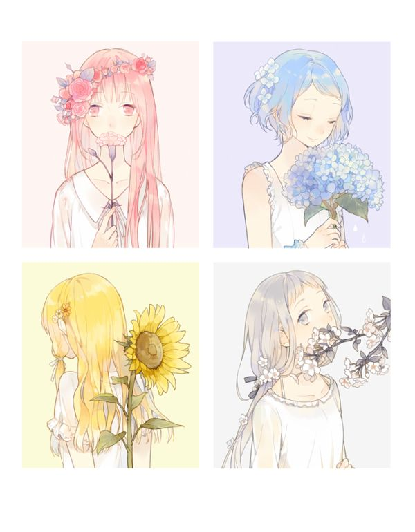 Anime girls, the differ colors realy help see the feelings and personality of each girl if you look