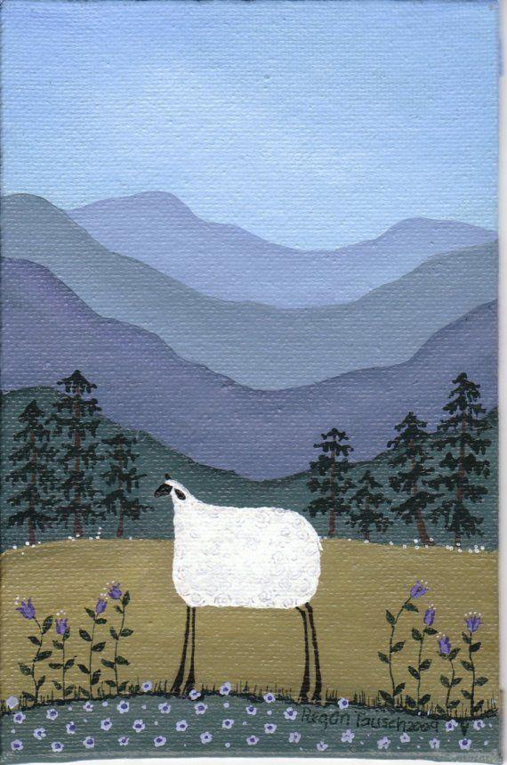 Regan Tausch | original folk art painting Mountain Sheep by Regan Tausch