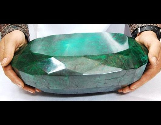 """What is said to be the """"world's largest emerald"""" is 12 inches long and weighs 11.5 kilograms."""