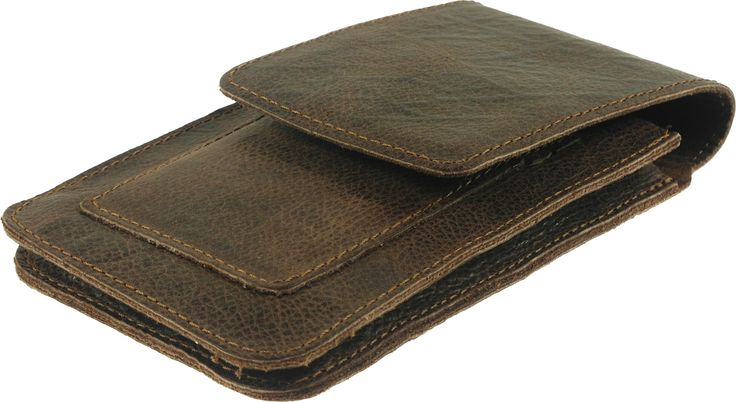 Two Pockets Leather Pouch With Belt Clip & 3 Card Pockets for mobile phones