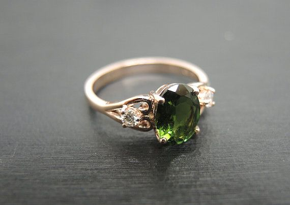 Engagement Ring 1.8 Carat Green Tourmaline Ring by stevejewelry