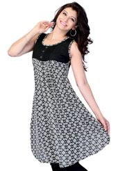 Black and Off White Faux Georgette  Readymade Kurti