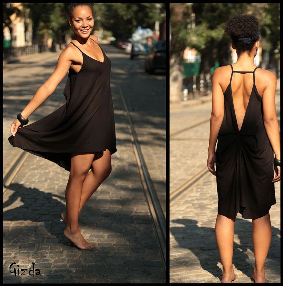 Black Asymmetric Backless Spring Dress // Black Feminine Summer Dress // Romantic Black Spaghetti Straps Dress on Etsy, $48.00