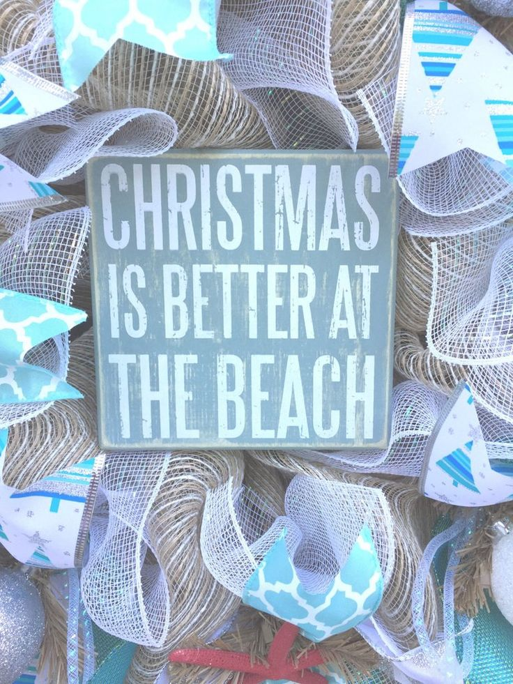 Christmas is Better at The Beach Burlap Deco Mesh Wreath with Sea Shells, Seashell Wreath, Beach Wreath, Starfish Wreath, Coastal Christmas This wreath measures