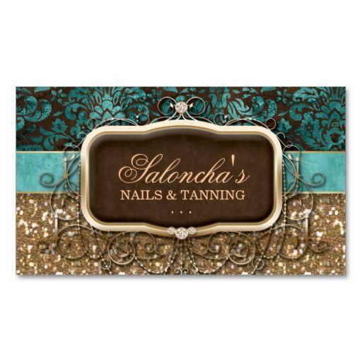 Tanning Fashion Chandelier Realtor Damask Glitter Business Card Templates