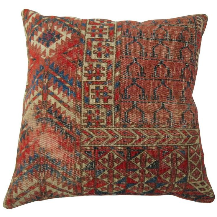 Antique Turkeman Rug Pillow | From a unique collection of antique and modern central asian rugs at https://www.1stdibs.com/furniture/rugs-carpets/central-asian-rugs/