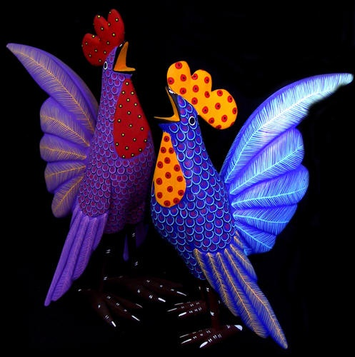 Tequila Bay - Fine Mexican Art and Artifacts - Oaxacan Wood Carvings Roosters
