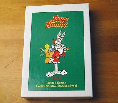 Bugs Bunny 1992 Holiday 1 Troy Oz Silver Proof Coin with Box Edition 3000