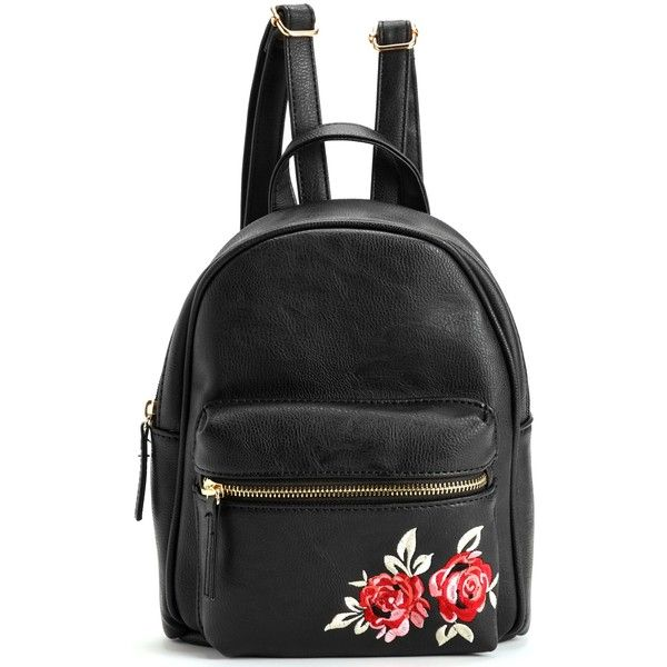 Black Floral Embroidery Backpack (£19) ❤ liked on Polyvore featuring bags, backpacks, faux leather bag, zip bag, vegan leather bags, flower print backpack and day pack backpack