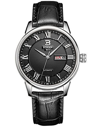 Binger Men's Silver Bezel Black Dial Quartz Watch With Calfskin Leather Strap Analog casual design, leather band, roman number time mark with the simplicity of business casual, brings you the back to the classic.