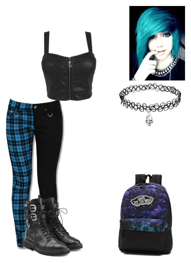 """Bule Emo"" by x-2manybands-x ❤ liked on Polyvore featuring Giuseppe Zanotti, Vans, contest, Dark and emo"
