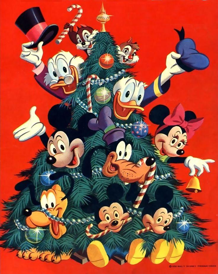 Walt Disney Christmas greetings Christmas tree with all the characters