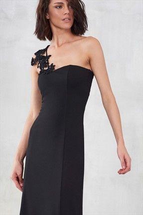 Siyah Tek Omuz Güpürlü Elbise