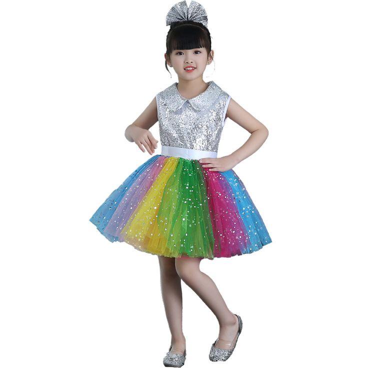 2018 Childrens fancy dress modern salsa Sequins dancing dress of girl kids dance dress for girls competition dance costume wear #Affiliate