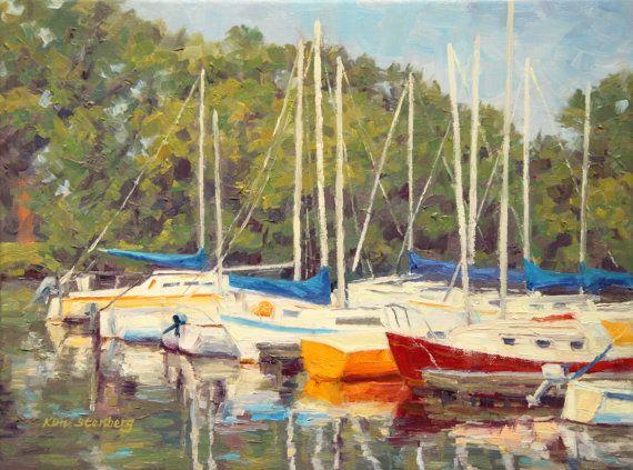 Sunny Marina Sail Boats Summer Fun Water Sports Original Oil Painting by KimStenbergFineArt, $300.00