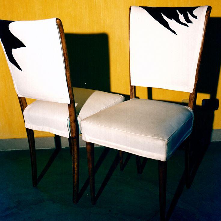 Rivestimento sedie di modernariato, in cotone con inserti in materiale tecnico, 1988