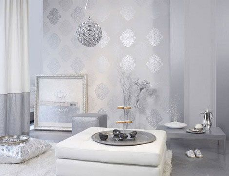 Light silver luxury livingroom lavish homes accesories pinterest luxury silver and home for Silver wallpaper living room