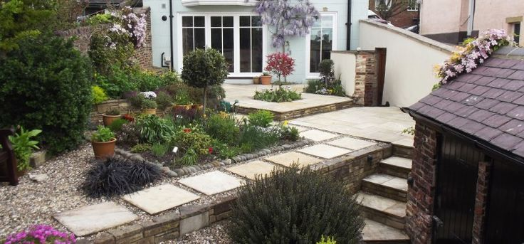 Terrace Refurbishment Durham City  Following a major refurbishment, it was necessary to landscape the garden as the existing one had been destroyed.