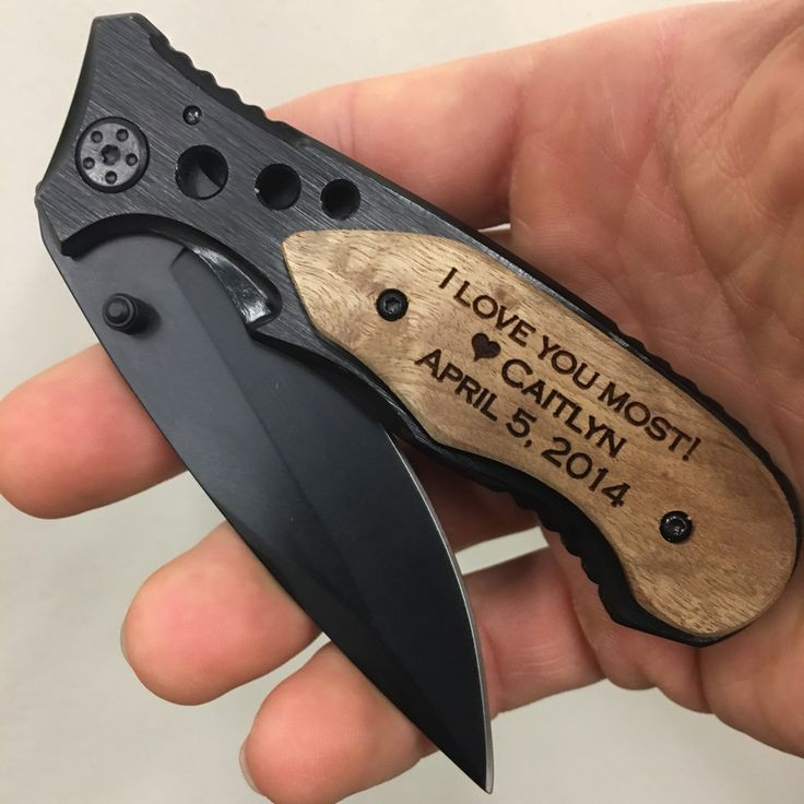 I love you engraved pocket knife, the best anniversary keepsake gift for men, personalize our awesome wood handle pocket knife with up to three lines of text!