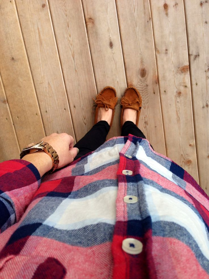 Flannel worn as a tunic with ultra skinnies and moccasins