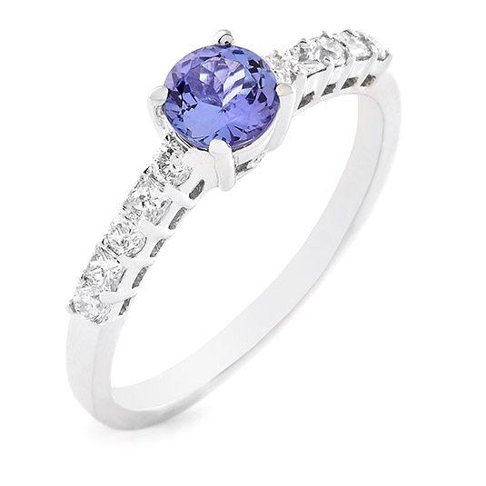 18 carat white gold diamond and tanzanite ring