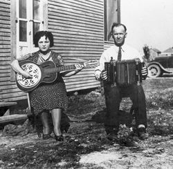 Louisiana Folk And Regional Popular Music Traditions On Records And The Radio: An Historical Overview With Suggestions For Future Research  By Stephen R. Tucker;   The first Cajun recording artists (1928), Cleoma Breaux Falcon and Joe Falcon. Lauren Chest Post Photographs, Mss. 3267, Louisiana and Lower Mississippi Valley Collections, LSU Libraries, Baton Rouge, LA. http://www.louisianafolklife.org/lt/virtual_books/guide_to_state/tucker.html