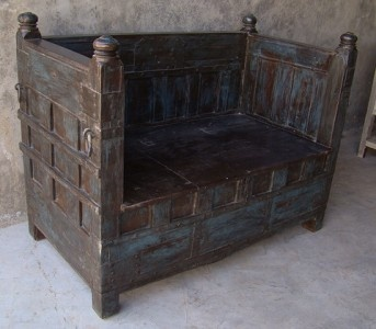 Solid Indian Balinese Antique Wooden Timber Seat Couch