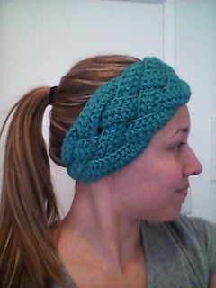one size fits all braided ear warmer or skier's headband crochet pattern.  I like the back of this one (has picture of back)