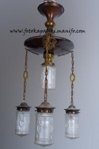 Secesyjna lampa - oryginalne klosze !!!