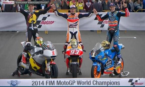 2014 FIM MotoGP World Champions | Esteve Rabat /  Marc Marquez / Alex Marquez