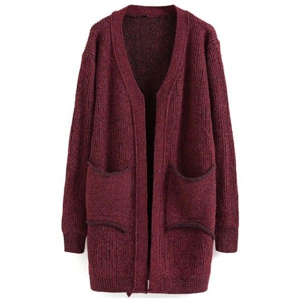 V-Neck Double Pockets Long Sleeve Plain Cardigan (195 NOK) ❤ liked on Polyvore featuring tops, cardigans, outerwear, purple long sleeve top, v-neck cardigan, long sleeve cardigan, cardigan top and v-neck tops